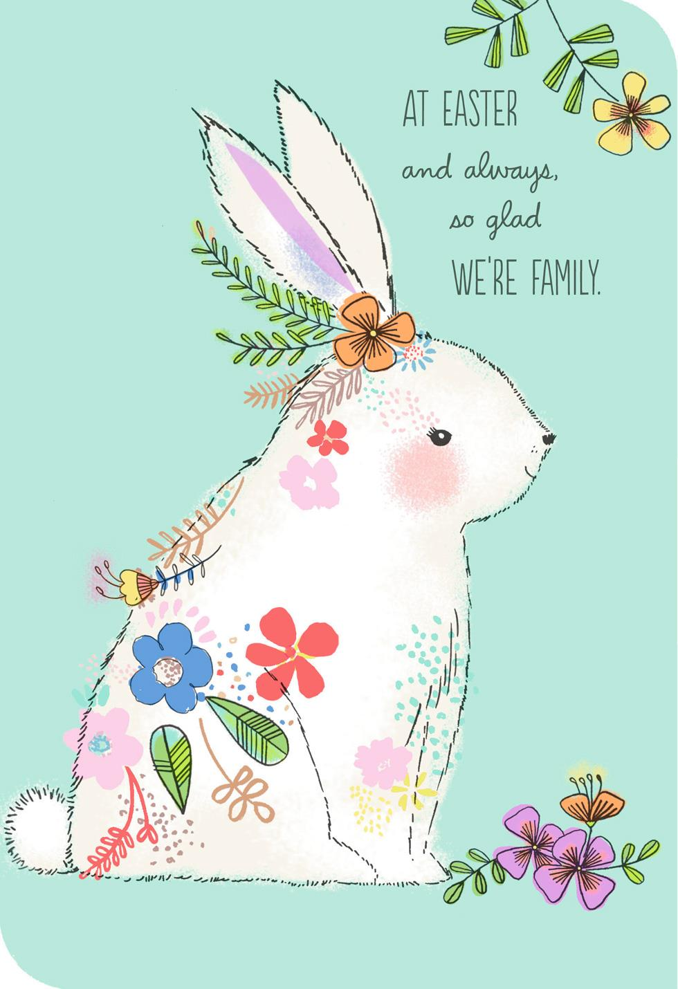 White bunny with flowers easter card for relative Hallmark flowers