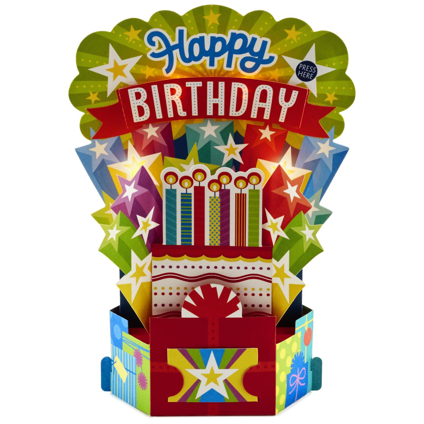 birthday cake with candles pop up musical birthday card