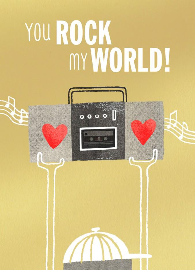 you rock my world blank valentine u0026 39 s day card