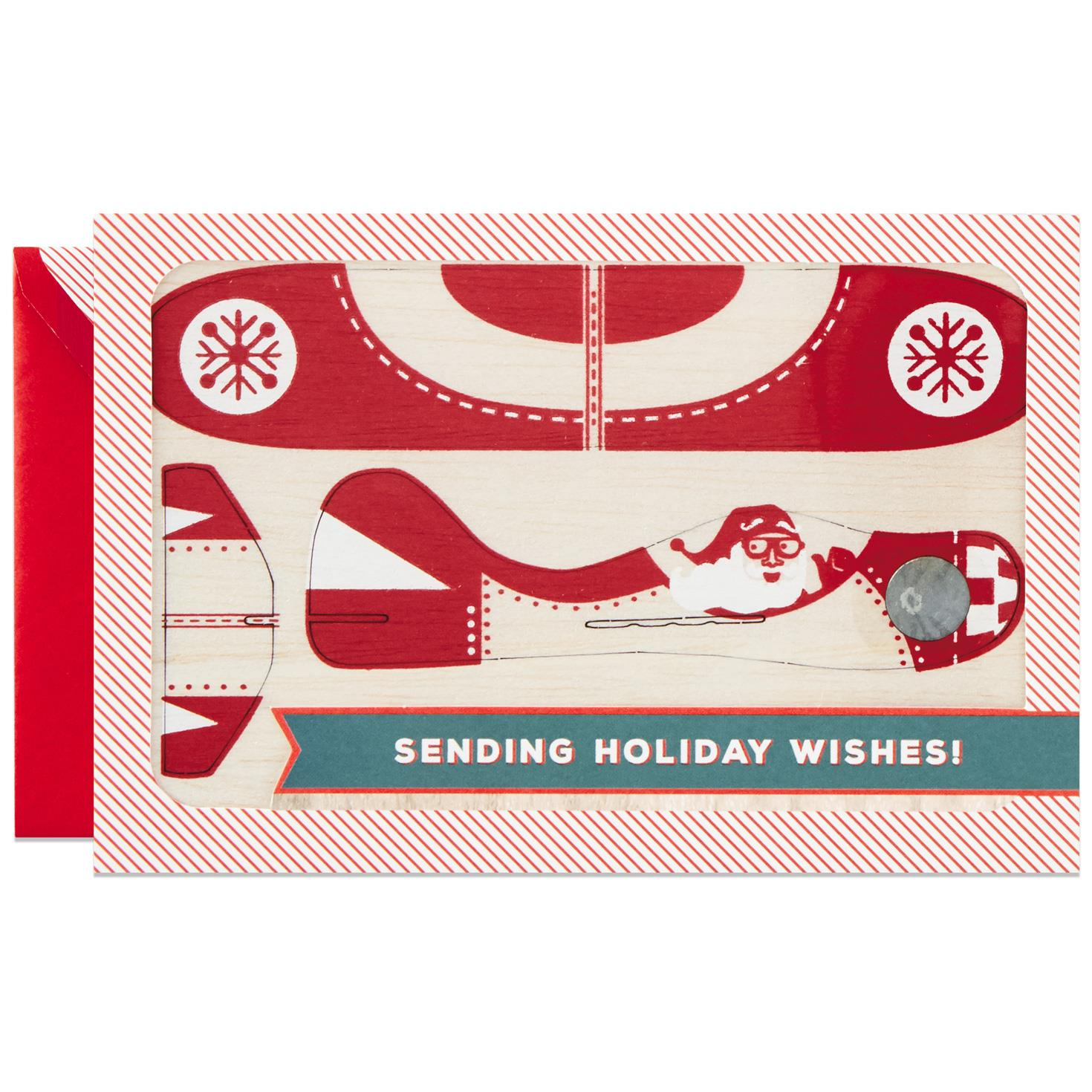 Holiday Wishes Christmas Card With Removable Toy Plane Greeting