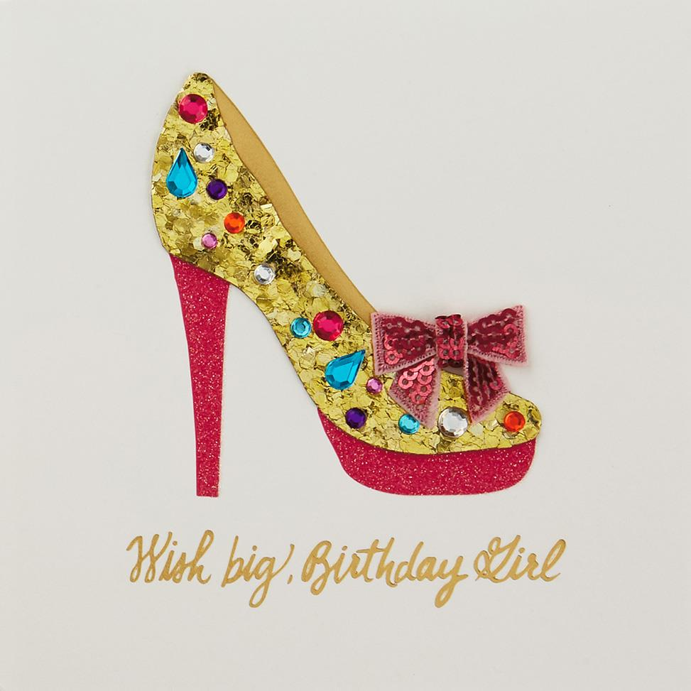 Jeweled Stiletto Shoe Wish Big Birthday Card Greeting