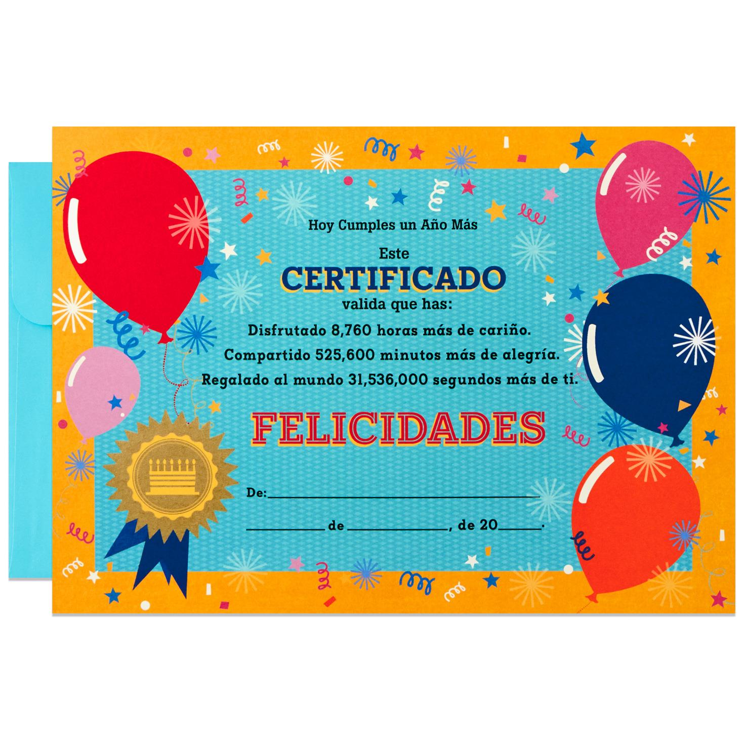 Birthday certificate large spanish language birthday card 12 birthday certificate large spanish language birthday card 12 1betcityfo Gallery
