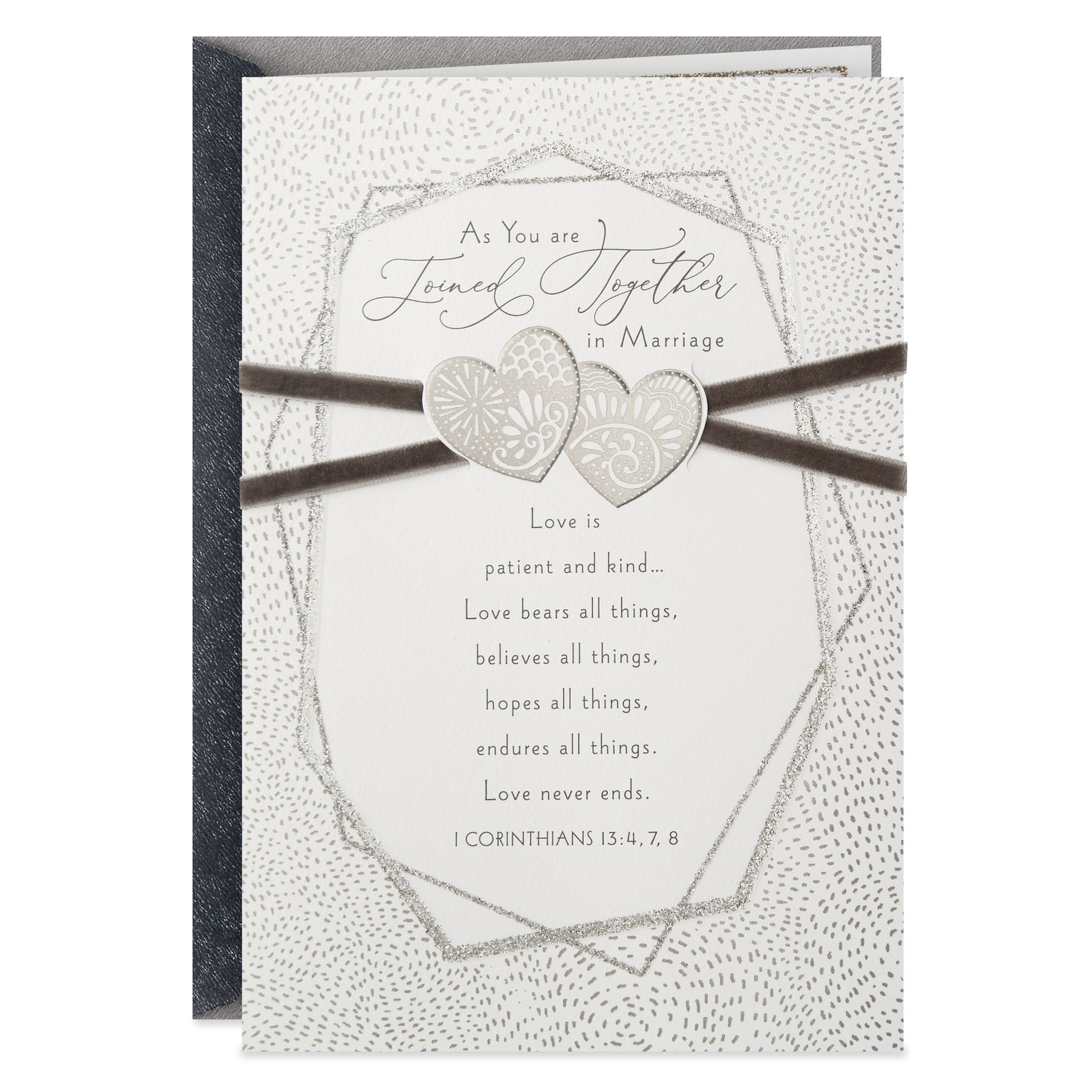LOVE IS ...CORINTHIANS  I 13:4,7,8 GLITTERY WEDDING CARD