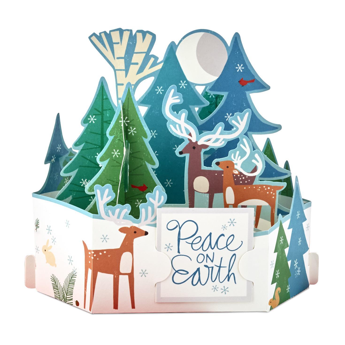Moonlit Reindeer Scene Pop Up Christmas Card - Greeting Cards - Hallmark