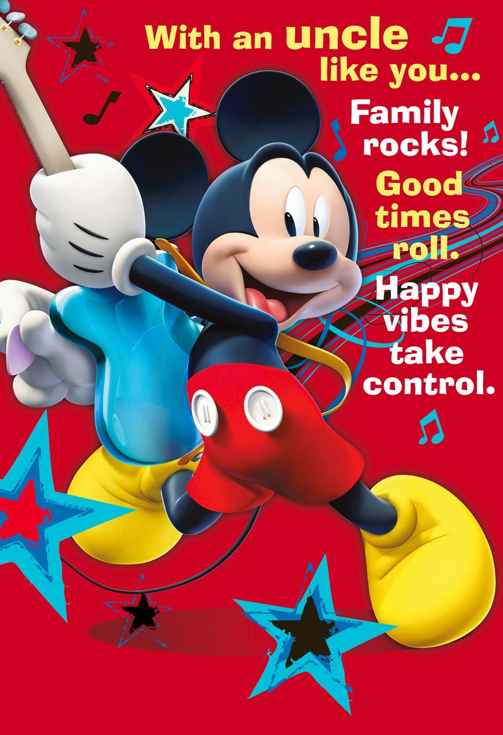 Mickey Mouse Rock Star Fathers Day Card For Uncle End