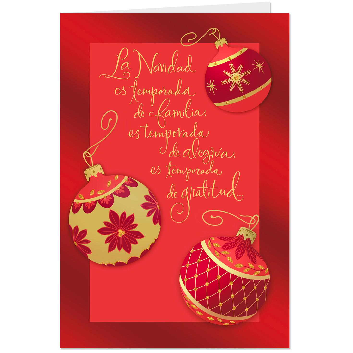 Red and Gold Ornaments Spanish-Language Christmas Card ...