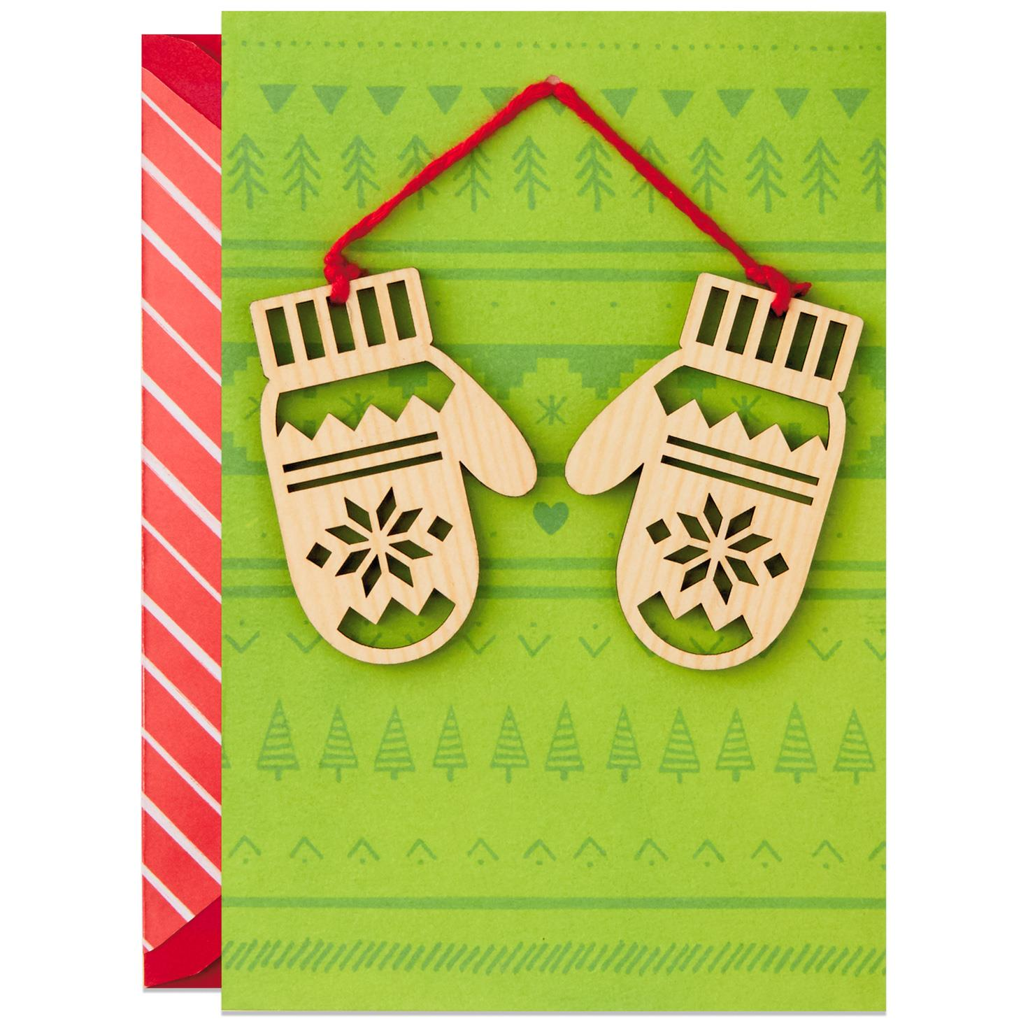 Holiday Mittens Christmas Card With Removable Ornament