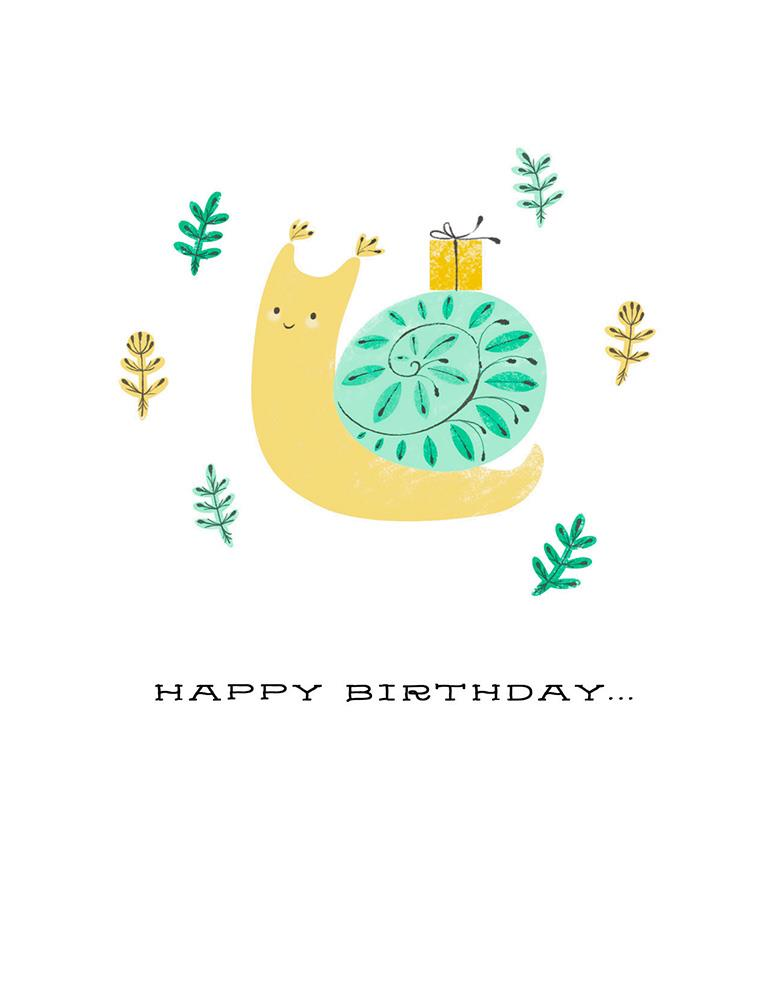 Late Little Snail Belated Birthday Card