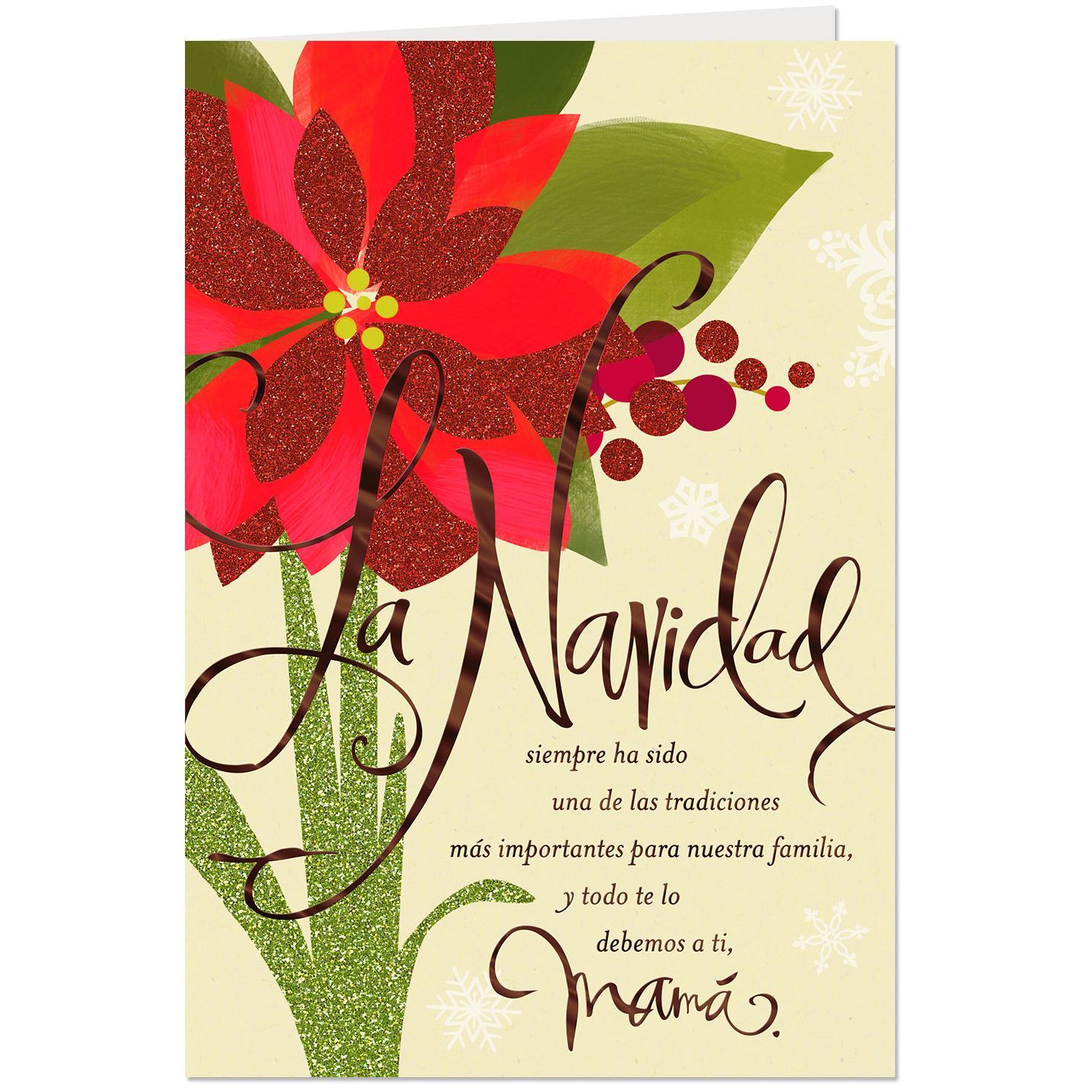 Glittery Poinsettia Spanish Language Christmas Card For Mom