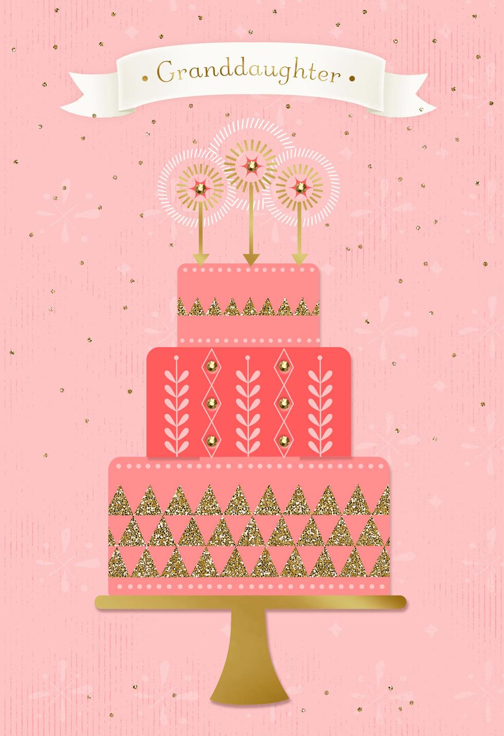 Pink Tiered Cake Birthday Card For Granddaughter