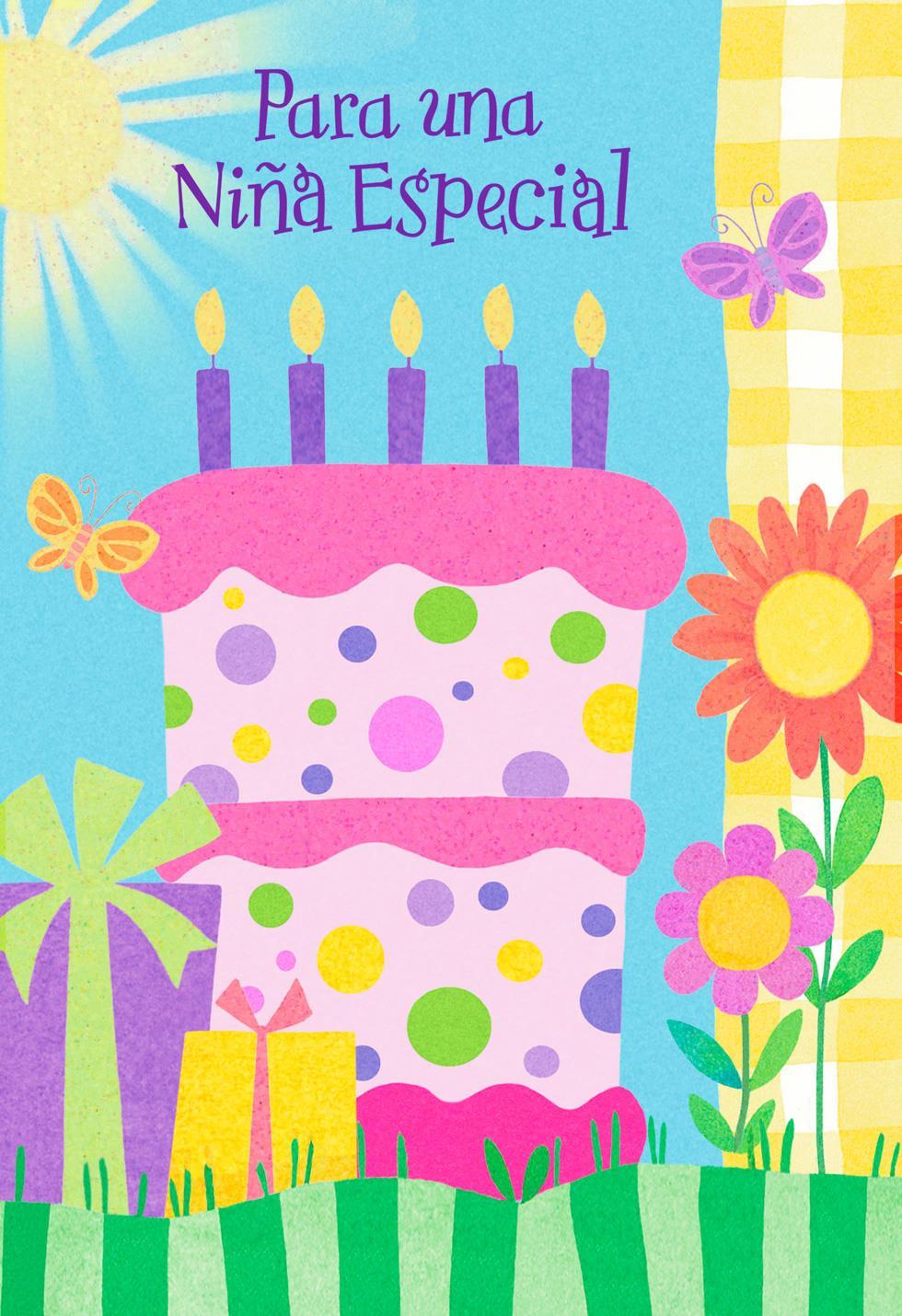 Pink Birthday Cake Spanish Language Card For Girl