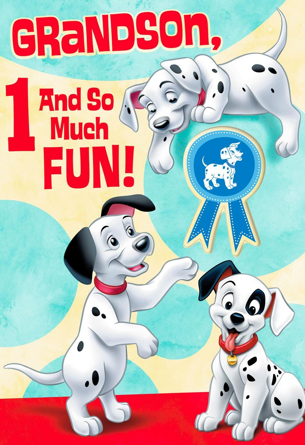101 Dalmatians 1st Birthday Card For Grandson