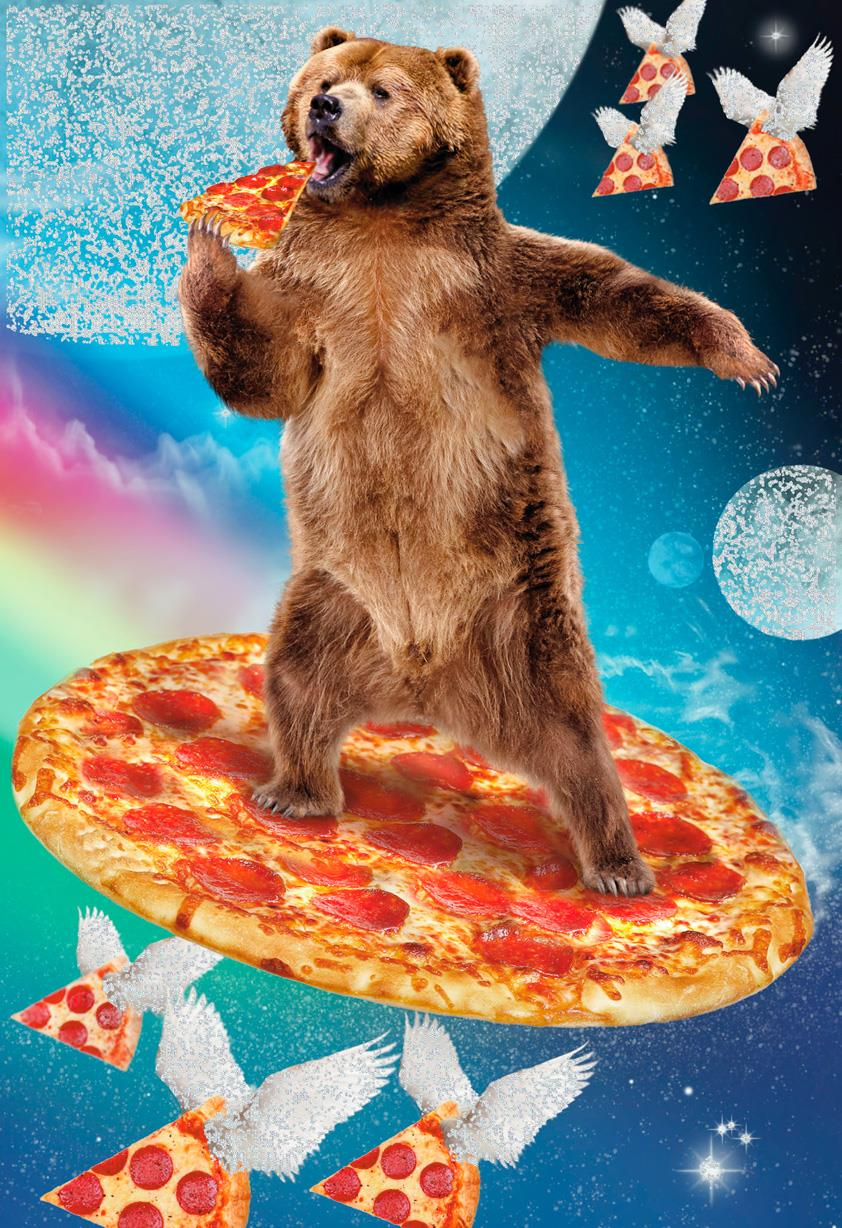 Cosmic Bear And Pizza Funny Father S Day Card Greeting