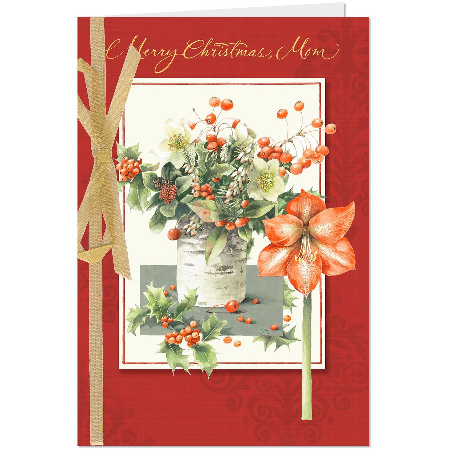 marjolein bastin bouquet in birch vase christmas card for