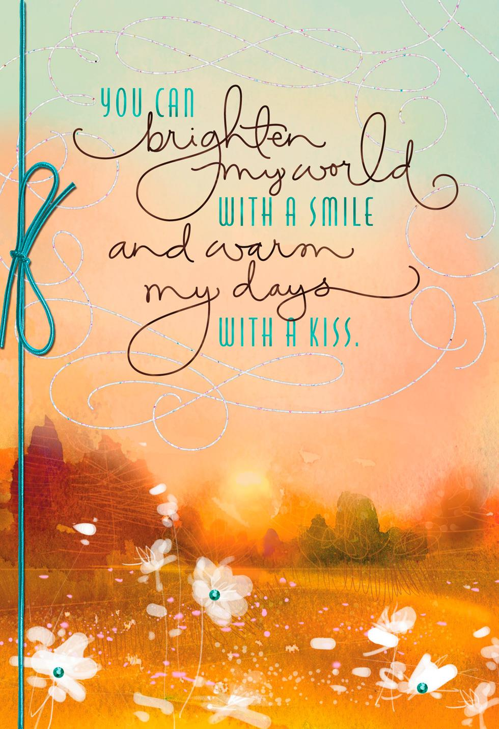You Brighten My World Anniversary Card Greeting Cards