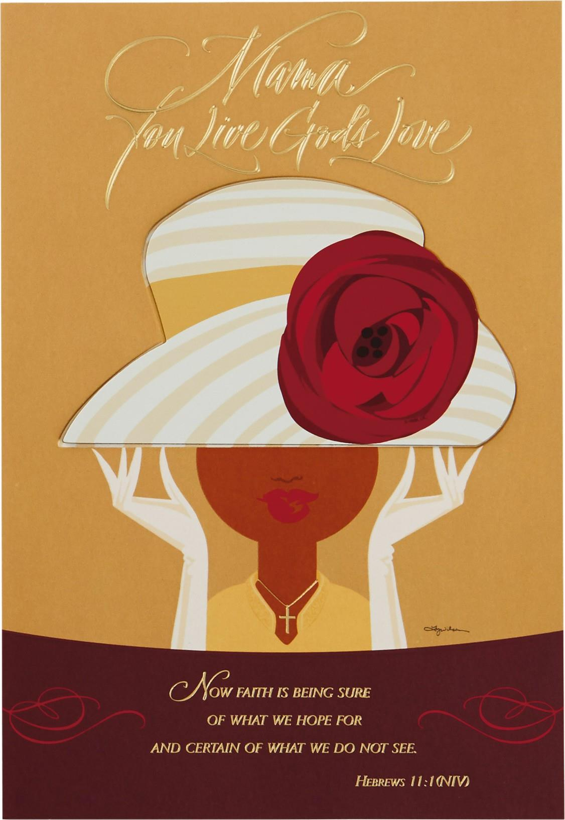 Sunday Hat Religious Mothers Day Card