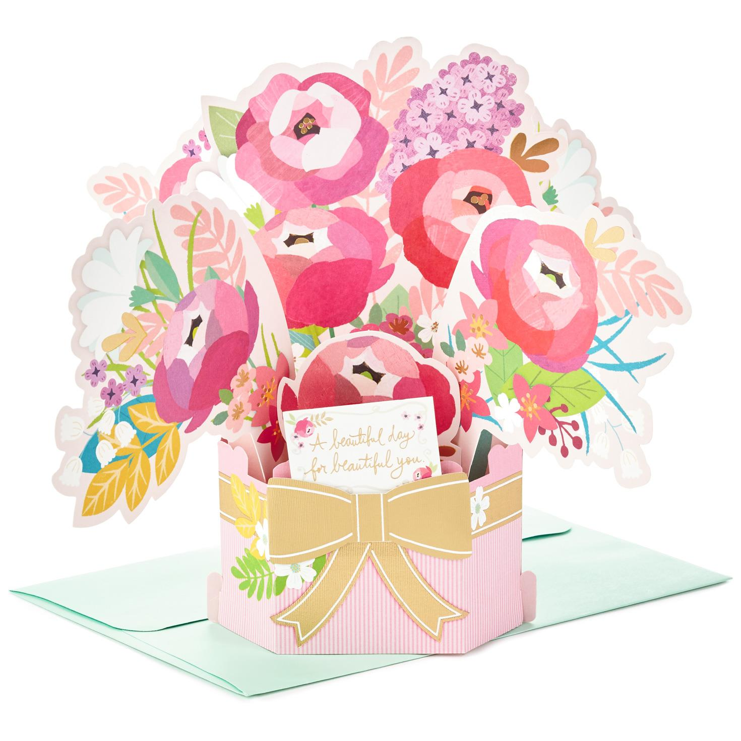 Blossoming flower bouquet pop up birthday card greeting Hallmark flowers