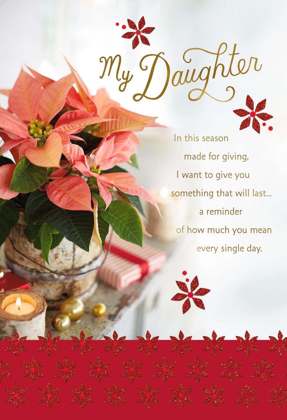 Poinsettia Flowers Christmas Card For Daughter Greeting Cards