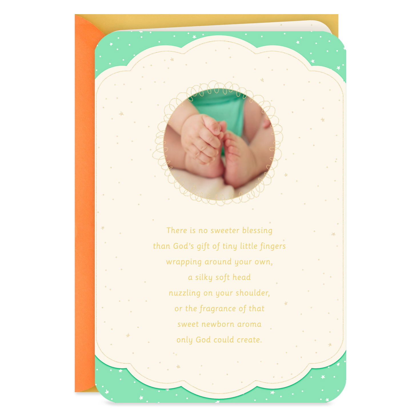 tiny hands and toes religious baby shower card  greeting