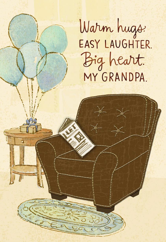 easy chair birthday card for grandpa