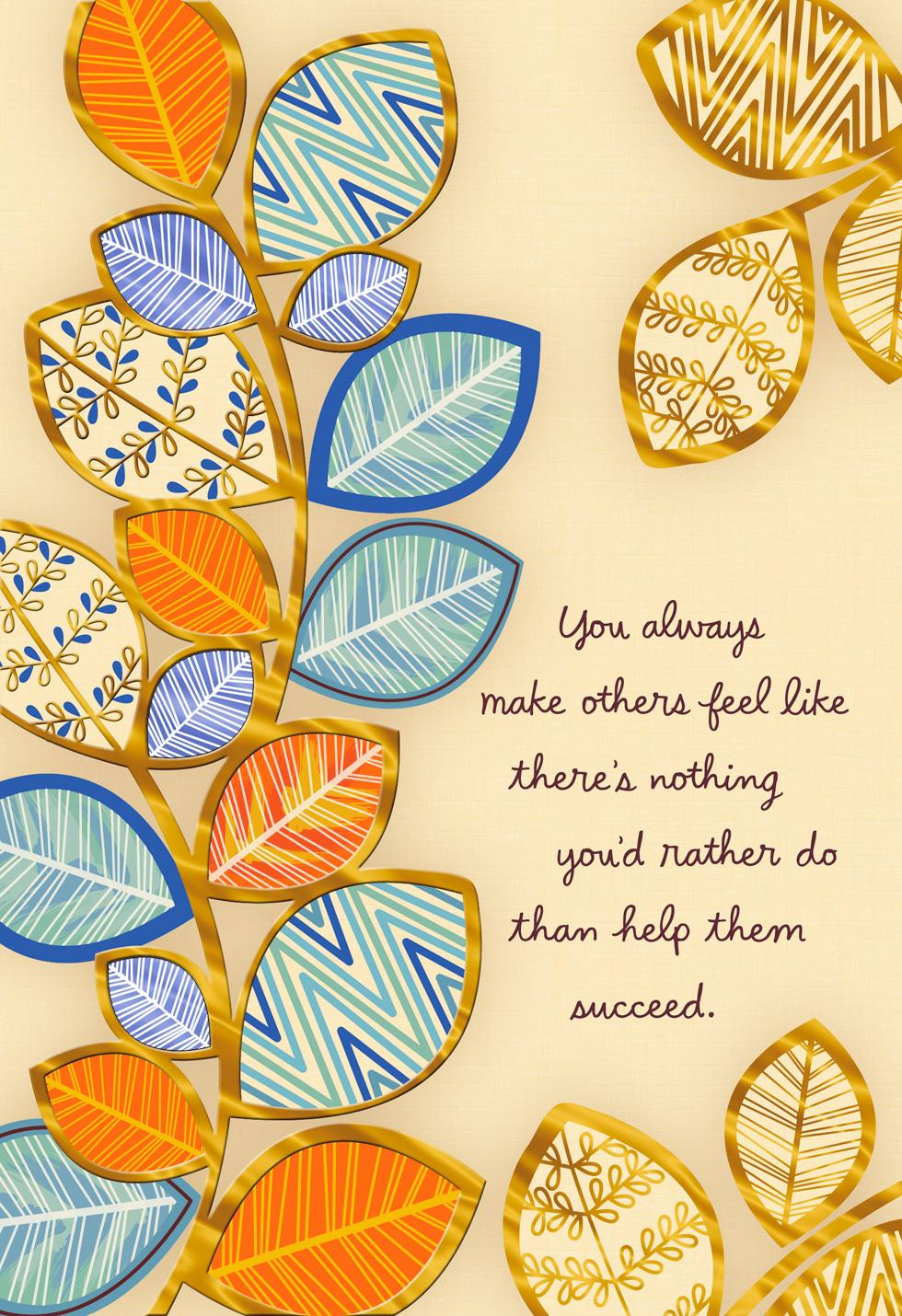 Thanks For Helping Me Succeed Bosss Day Card Greeting Cards