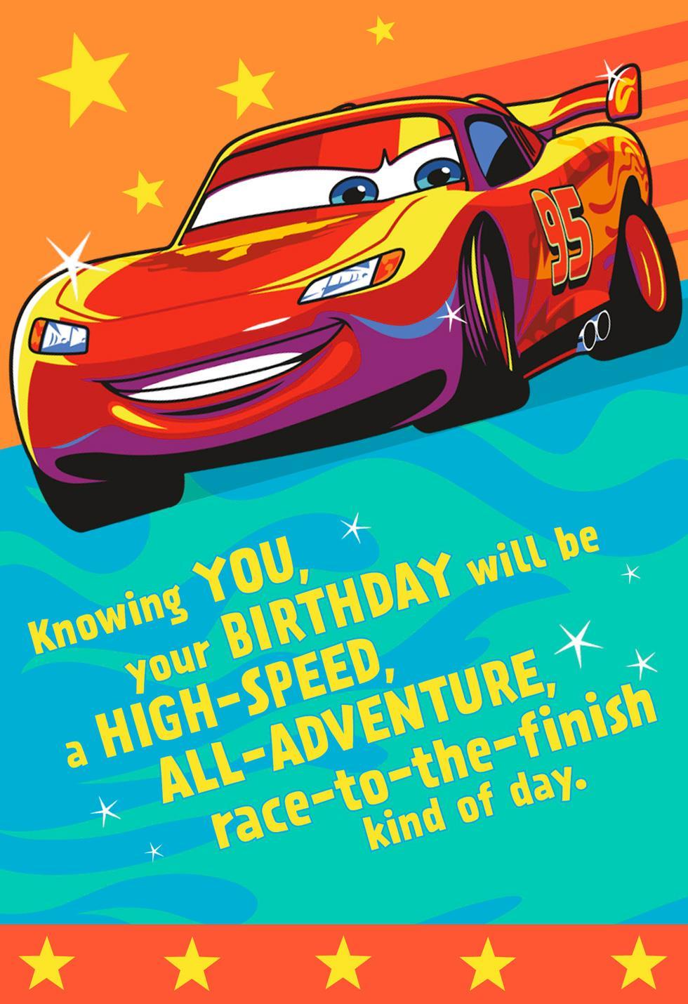 Disney pixar cars lightning mcqueen winner birthday sound card