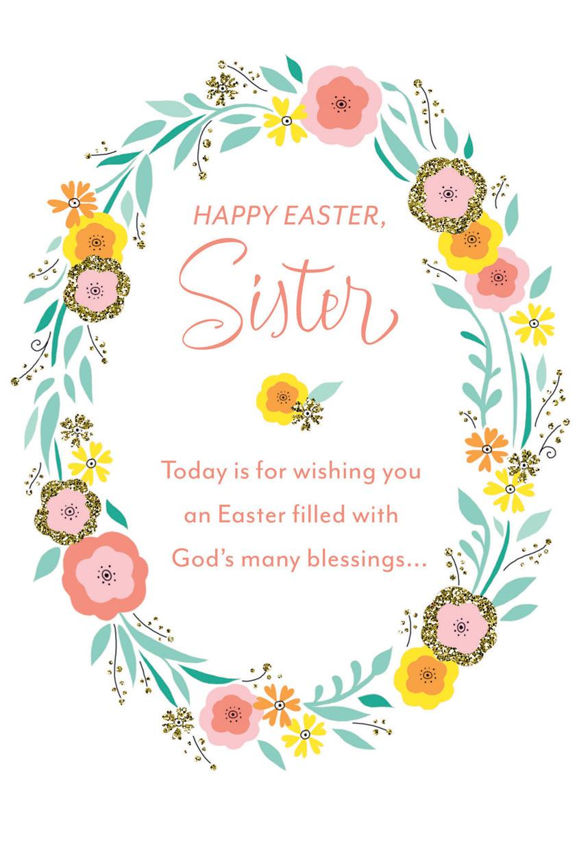 spring wreath religious easter card for sister  greeting
