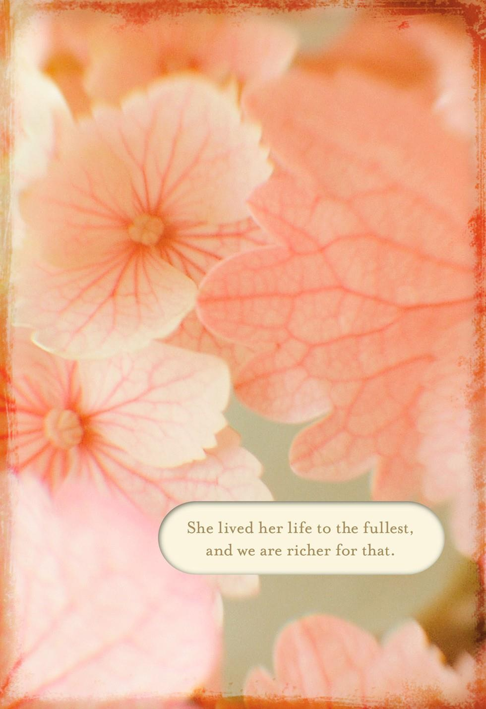 Pink flowers loss of a sister sympathy card greeting Hallmark flowers