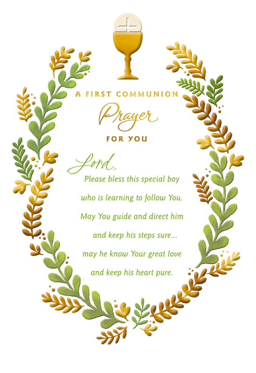 chalice and wreath of leaves first communion card for boy greeting cards hallmark