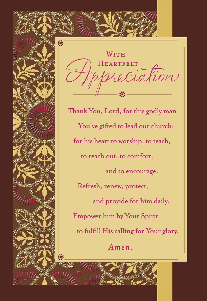 Flower Pattern With Prayer Pastor Appreciation Card ...