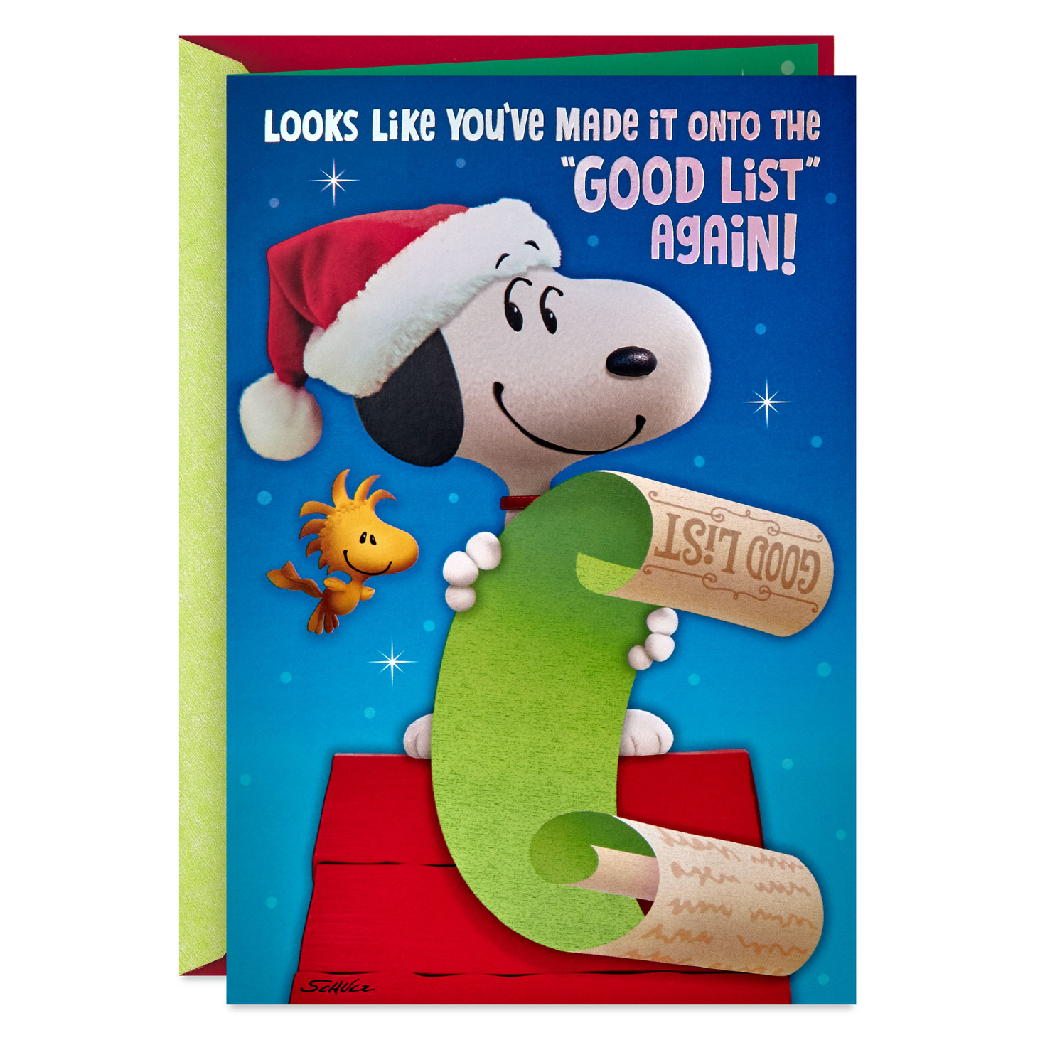 peanuts® you've made the good list again christmas card