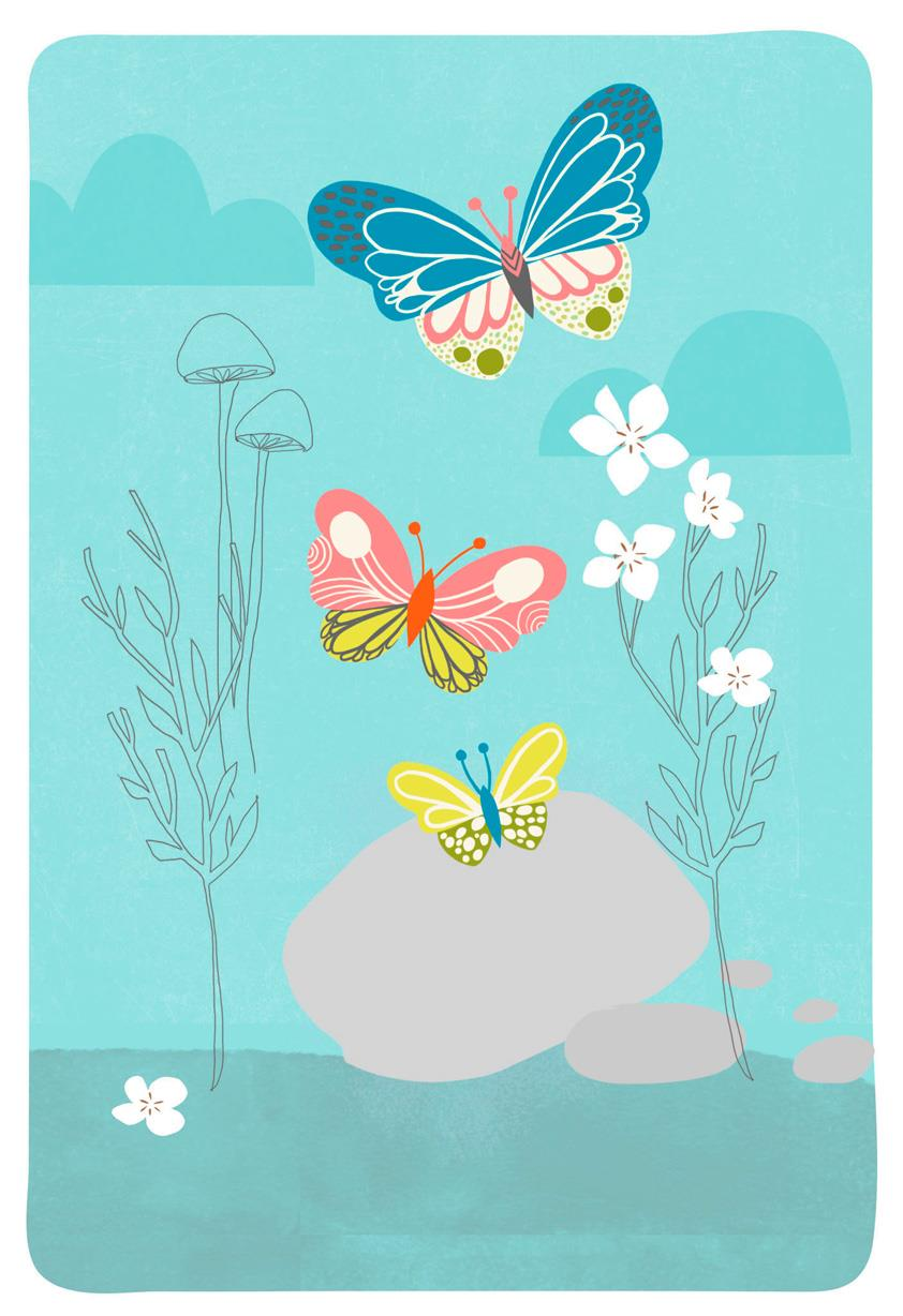 butterflies and pebbles blank card - greeting cards