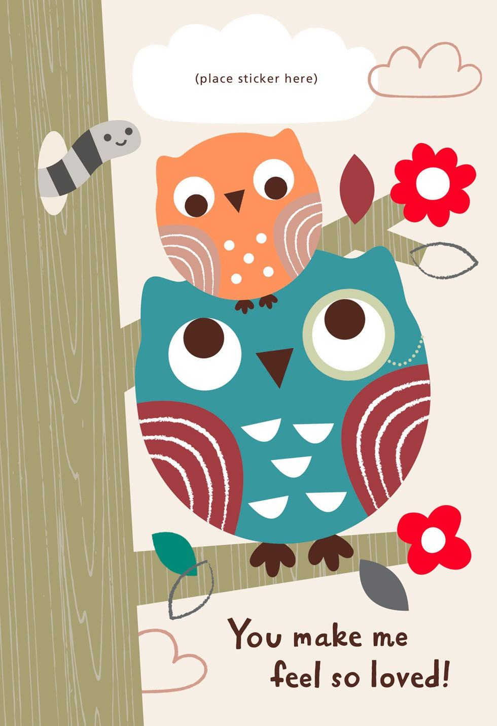 two owls customizable father s day card for grandpa from child