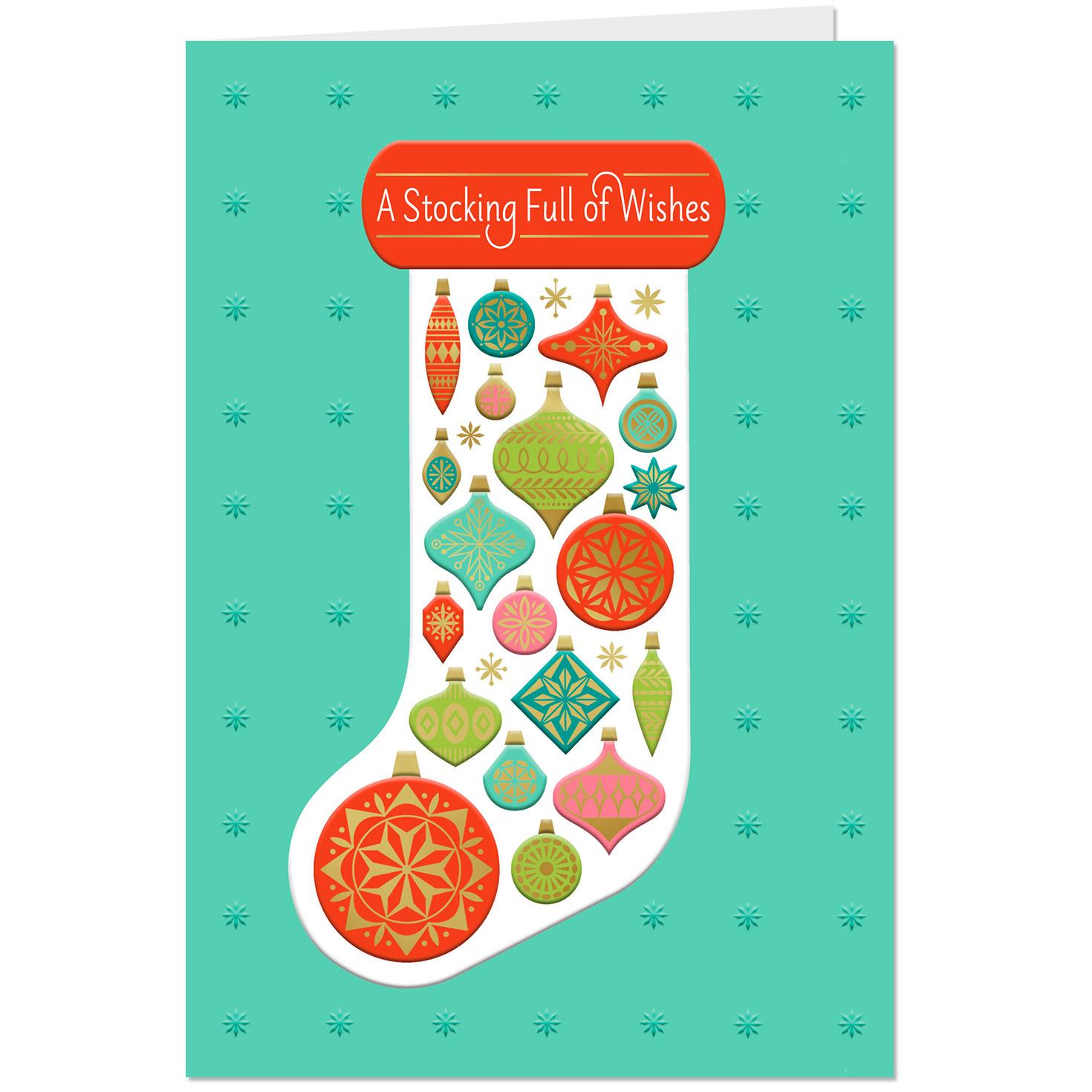 Merry And Bright Christmas Stocking Christmas Card