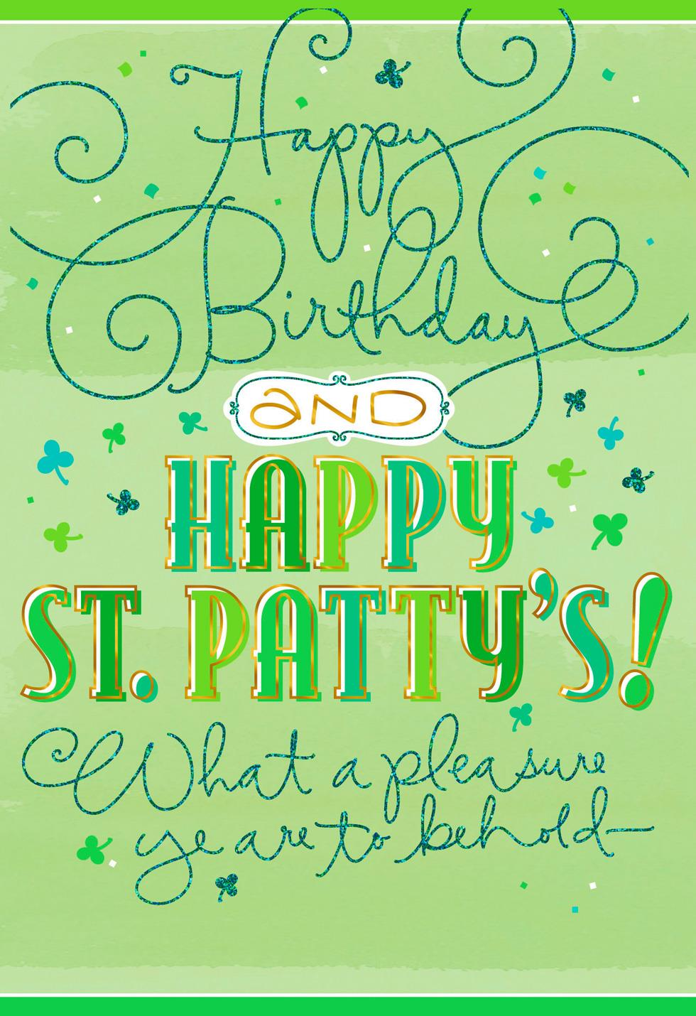 Sign Of The Shamrock St Patricks Day Birthday Card Greeting