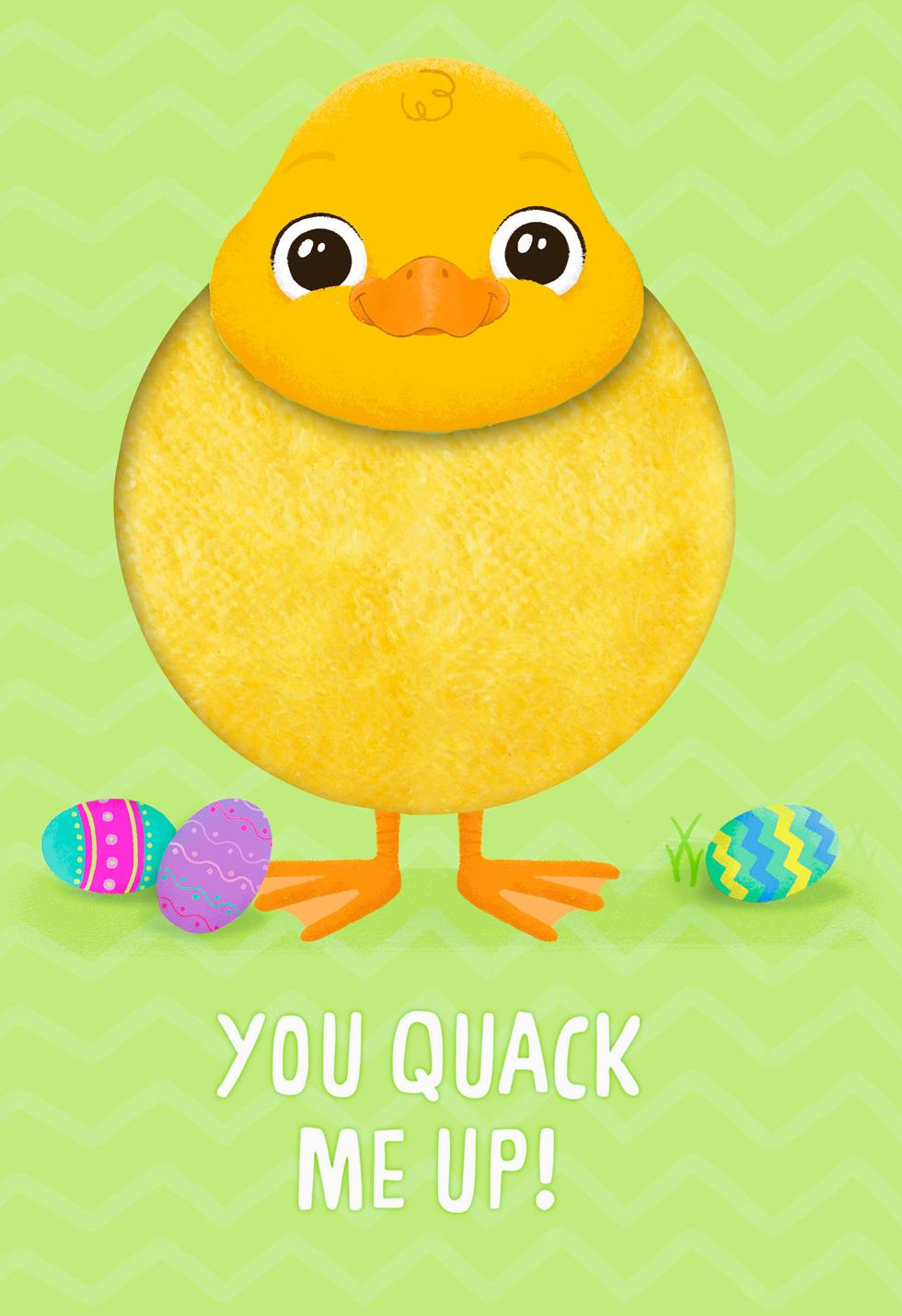 Fuzzy Duckling Quack Me Up Easter Card For Kids Greeting Cards