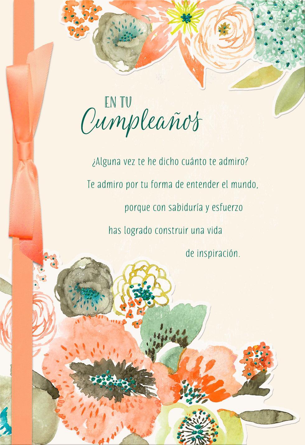 Pastel Flowers SpanishLanguage Birthday Card Greeting Cards