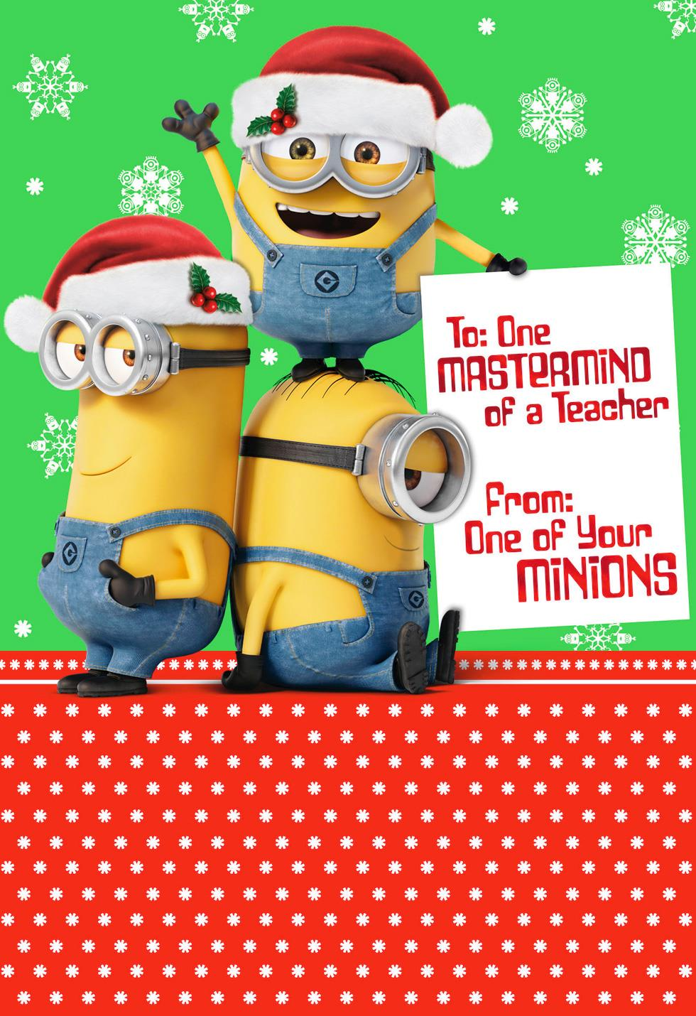 Despicable me minions mastermind christmas card for teacher despicable me minions mastermind christmas card for teacher kristyandbryce Image collections