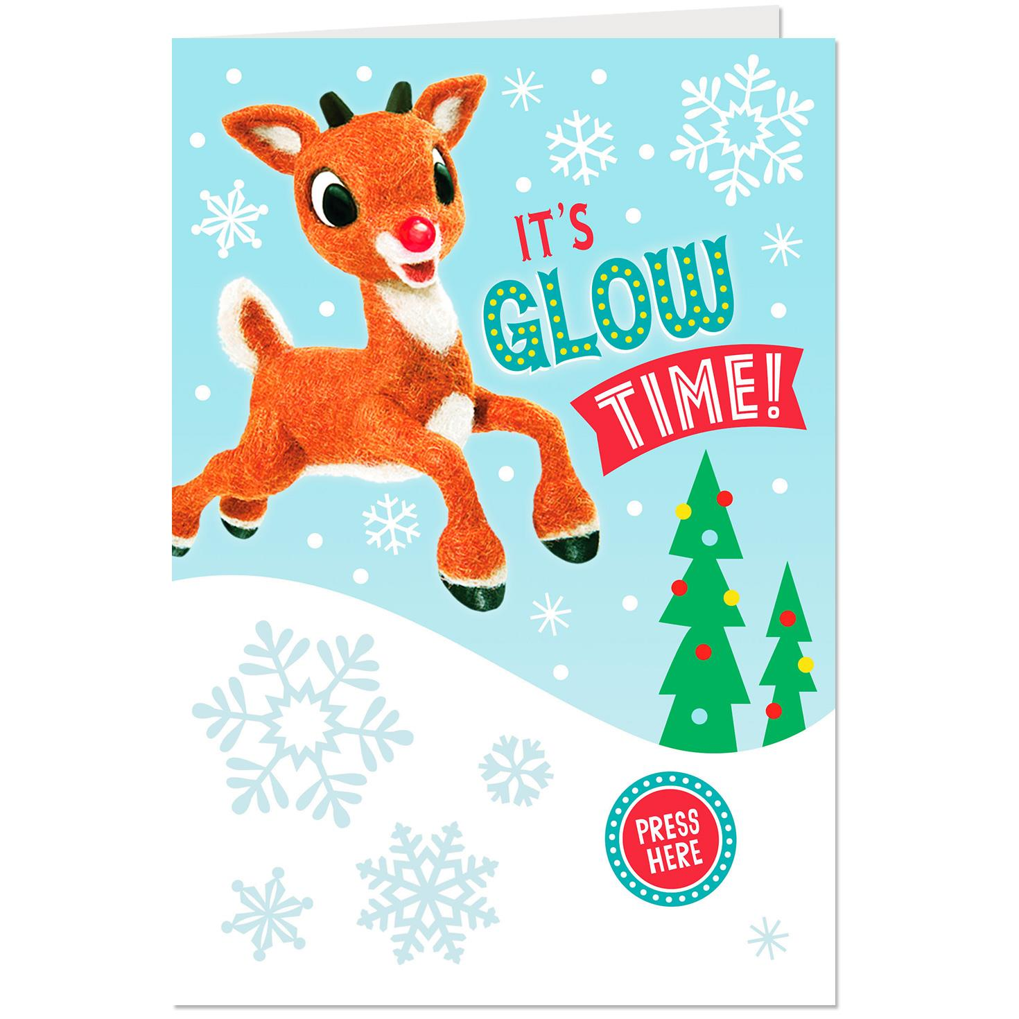 Rudolph The Red Nosed Reindeer Glow Time Musical Christmas Card