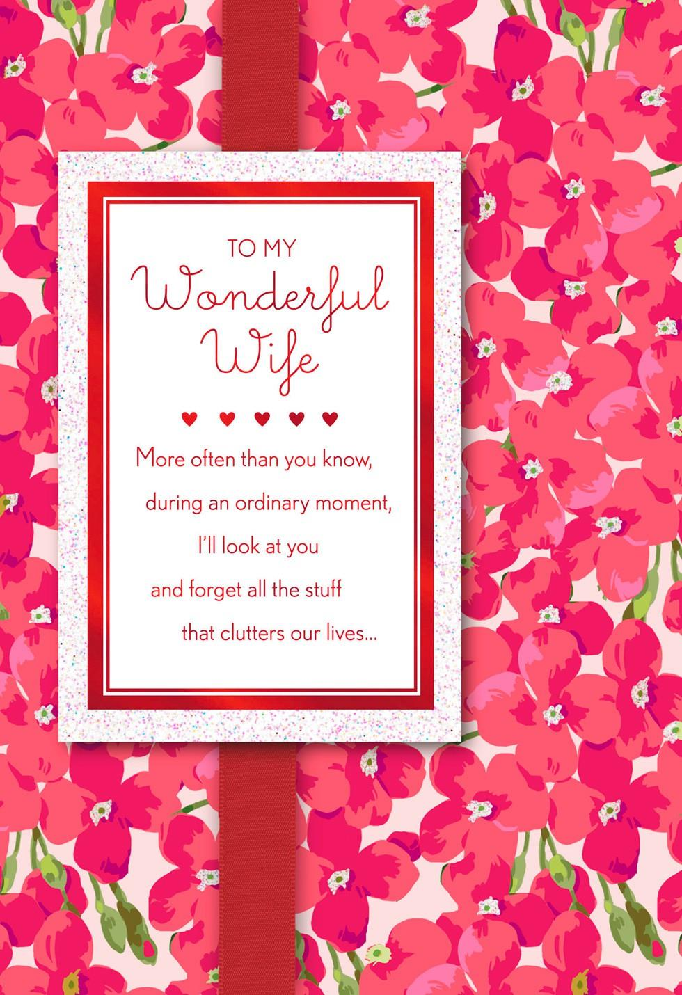 Pink Flowers Valentines Day Card for Wife Greeting Cards Hallmark – Hallmark Valentine Cards