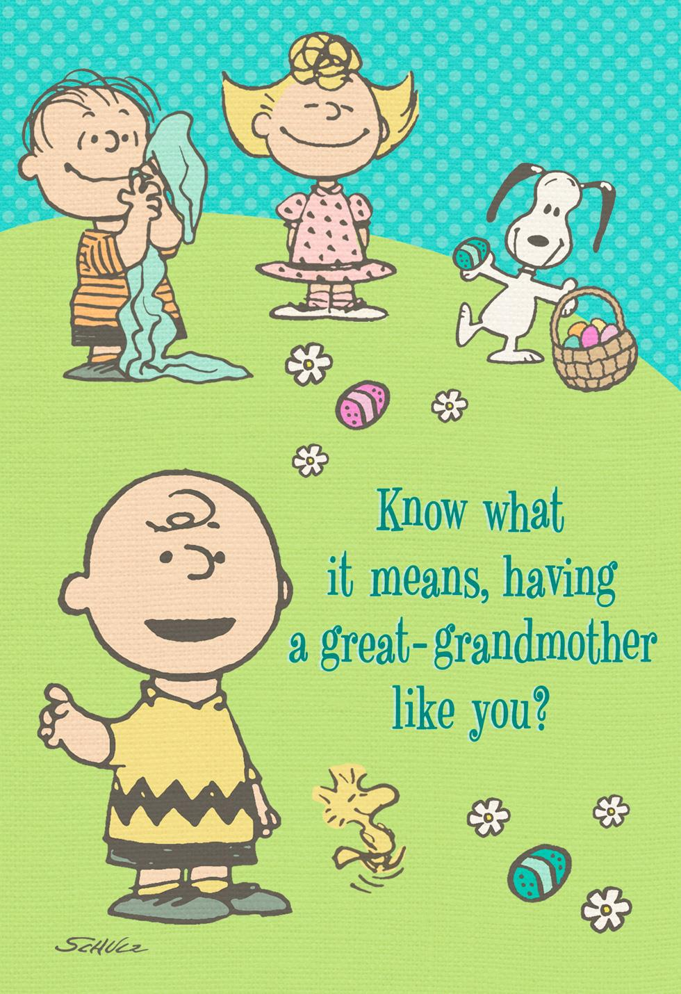 Peanuts 174 Gang Easter Card For Great Grandmother Greeting