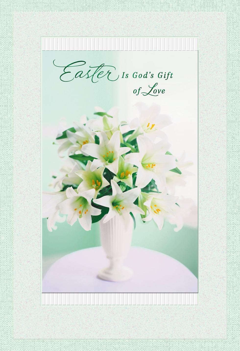 vase with lilies religious easter card
