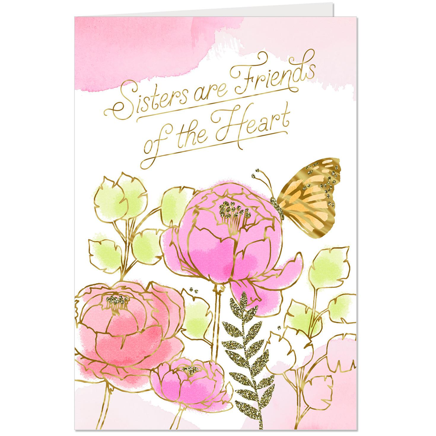 sisters are friends of the heart birthday card  greeting