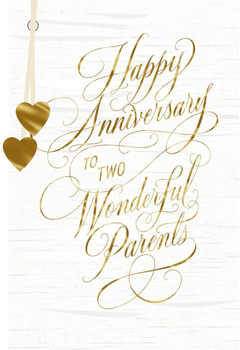 Two Gold Hearts Wonderful Parents Anniversary Card
