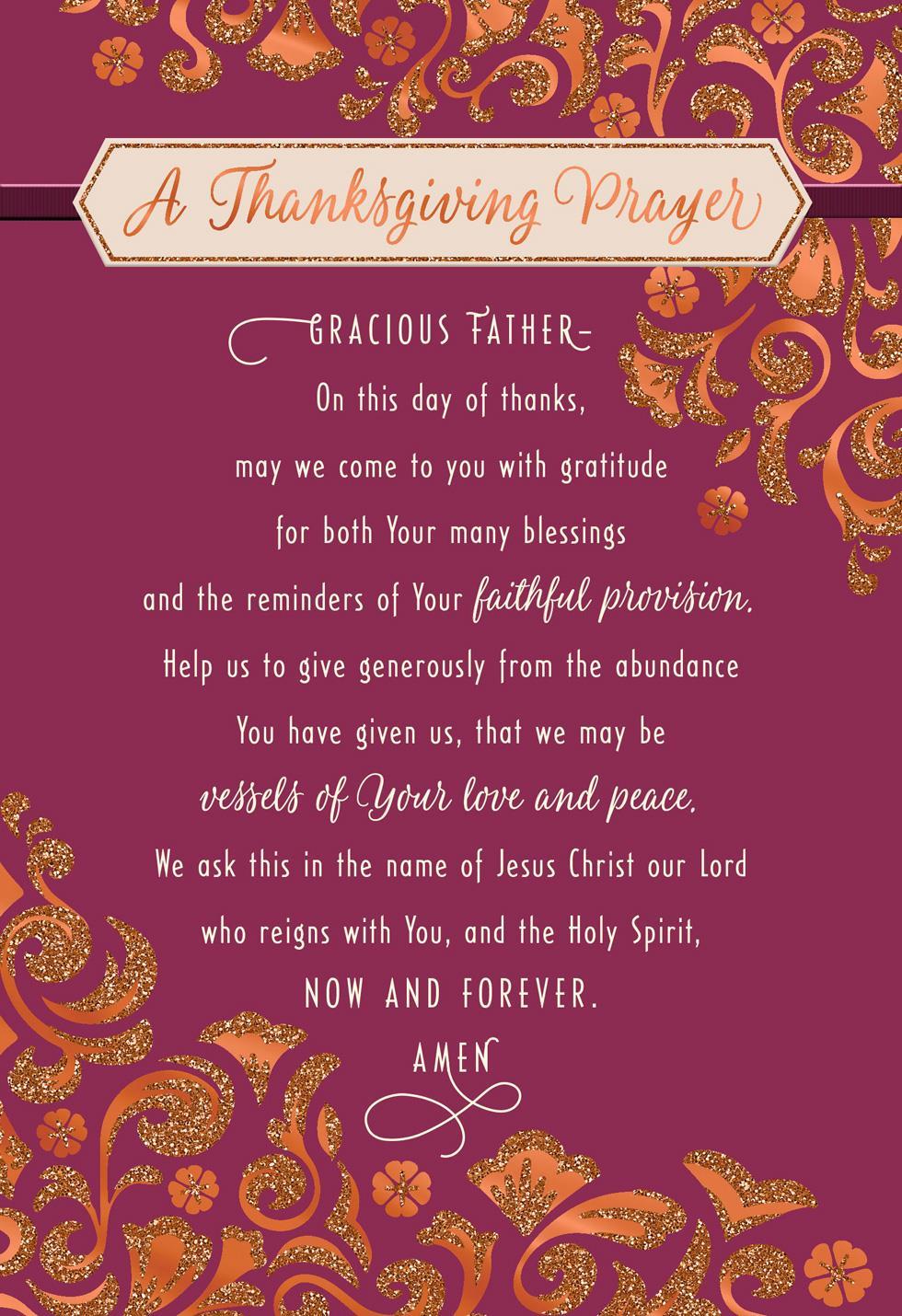 Glittery Flowers Holiday Prayer Religious Thanksgiving ...