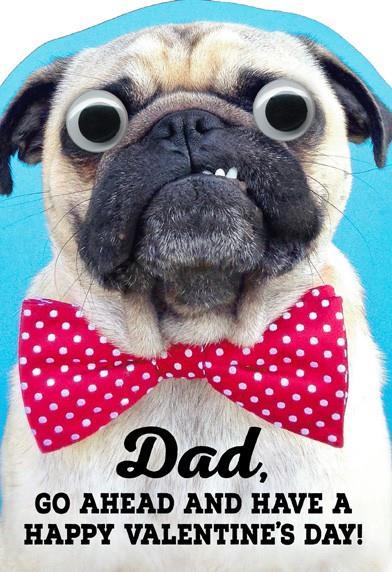 Bow Tie Pug Dad Valentineu0027s Day Card