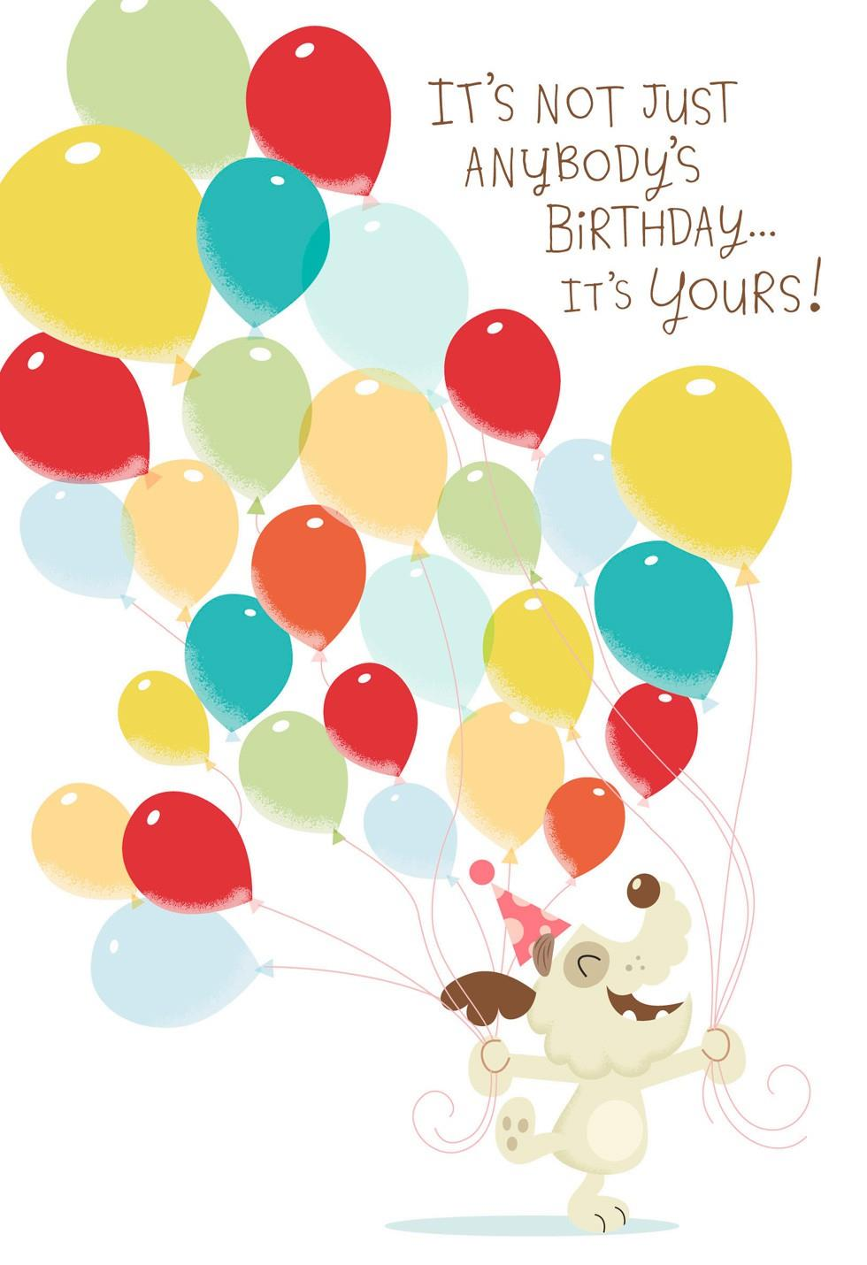 Dog With Balloons Musical Birthday Card Motion