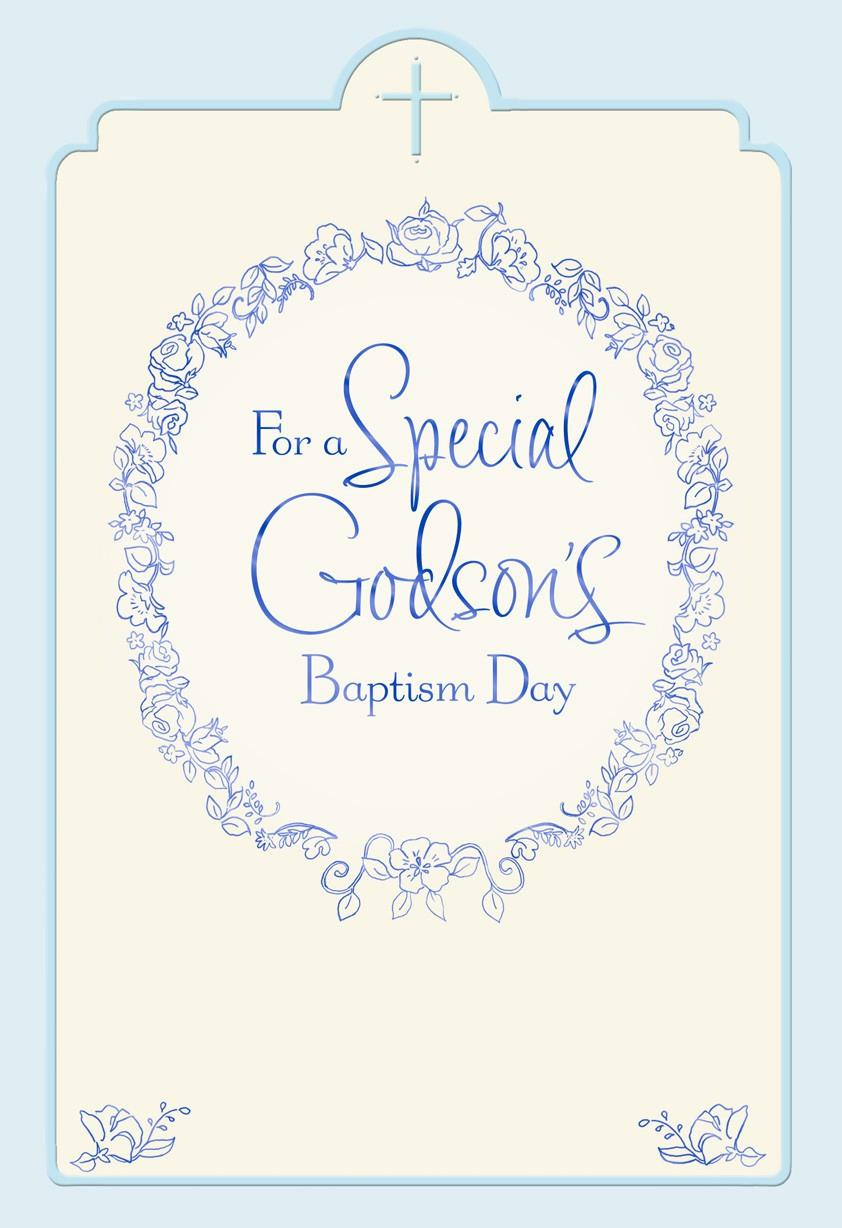Floral Wreath Godson Baptism Card for Parents - Greeting Cards ...
