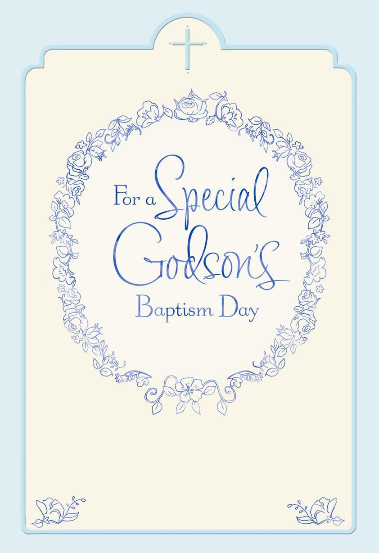 Floral Wreath Godson Baptism Card For Parents Greeting