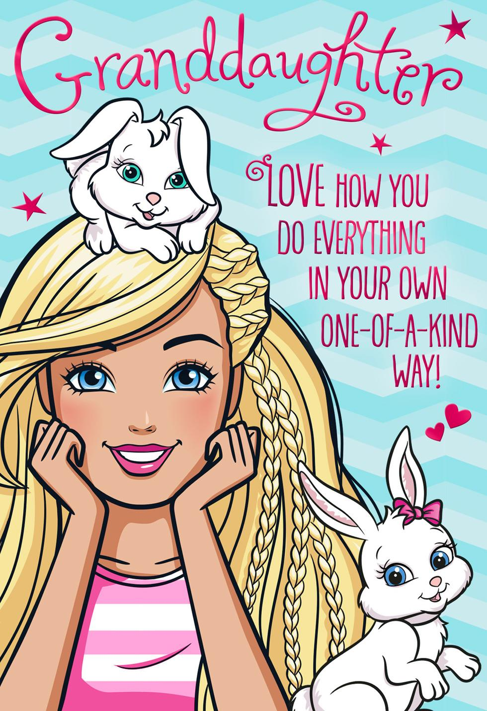 barbie u2122 and bunnies easter card for granddaughter